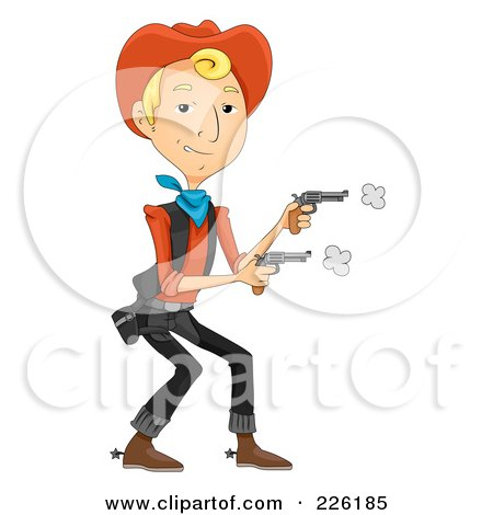 Royalty-Free (RF) Clipart Illustration of a Wild West Cowboy Shooting Two Pistols by BNP Design Studio