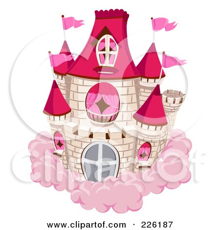 Royalty-Free (RF) Clipart Illustration of a White Brick Castle With Red Turrets And Pink Flags On A Pink Cloud by BNP Design Studio