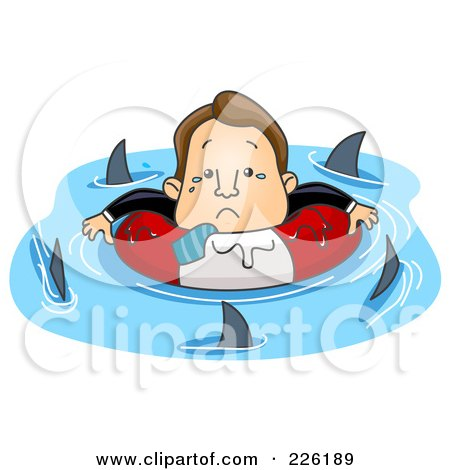 Royalty-Free (RF) Clipart Illustration of a Stressed Businessman Surrounded By Circling Sharks by BNP Design Studio