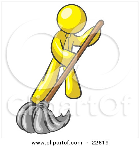 Clipart Illustration of a Yellow Man Wearing A Tie, Using A Mop While Mopping A Hard Floor To Clean Up A Mess Or Spill by Leo Blanchette