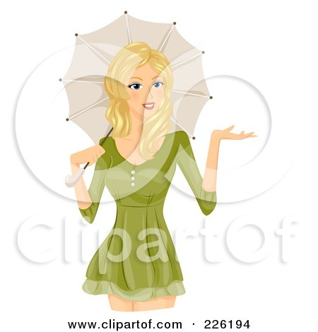 Royalty-Free (RF) Clipart Illustration of a Beautiful Woman In A Green Dress, With A Parasol by BNP Design Studio