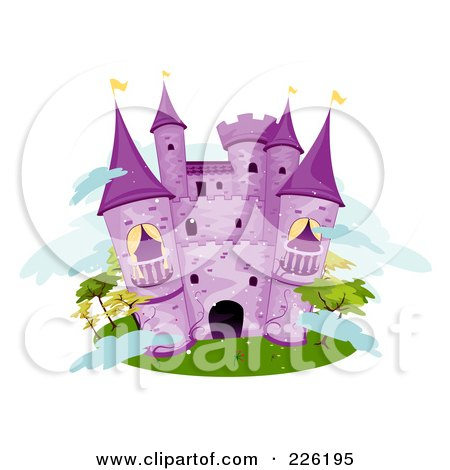 Royalty-Free (RF) Clipart Illustration of a Purple Stone Castle On An Island by BNP Design Studio