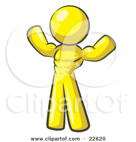 Clipart Illustration of a Yellow Bodybuilder Man Flexing His Muscles And Showing The Definition In His Abs, Chest And Arms by Leo Blanchette