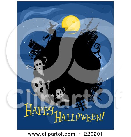 Royalty-Free (RF) Clipart Illustration of a Happy Halloween Greeting Under A Globe With Ghosts On Blue by BNP Design Studio
