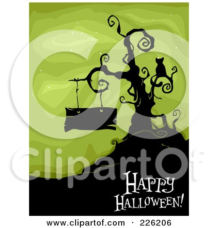 Royalty-Free (RF) Clipart Illustration of a Happy Halloween Greeting Under A Bare Tree With A Cat And Blank Sign On Green by BNP Design Studio
