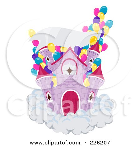 Royalty Free RF Clipart Illustration Of A Party Castle On A Cloud With Party Balloons And A Blank Banner