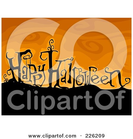 Royalty-Free (RF) Clipart Illustration of a Happy Halloween Greeting On A Hill Over Orange by BNP Design Studio