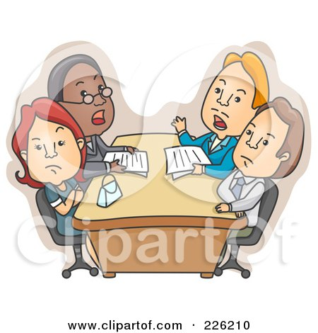 Royalty-Free (RF) Clipart Illustration of a Couple During A Divorce Meeting by BNP Design Studio