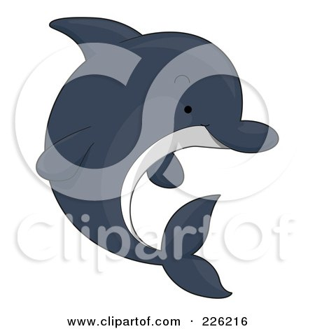 Royalty-Free (RF) Clipart Illustration of a Cute Dark Dolphin by BNP Design Studio