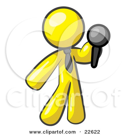 Clipart Illustration of a Yellow Man, A Comedian Or Vocalist, Wearing A Tie, Standing On Stage And Holding A Microphone While Singing Karaoke Or Telling Jokes by Leo Blanchette