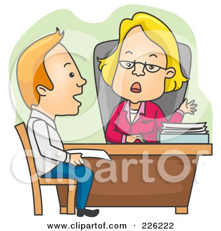 Royalty-Free (RF) Clipart Illustration of a Man Applying For A Loan by BNP Design Studio