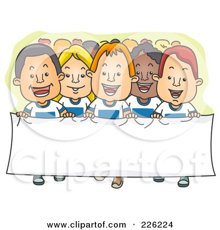 Royalty-Free (RF) Clipart Illustration of a Group Of Supporters Walking With A Banner by BNP Design Studio