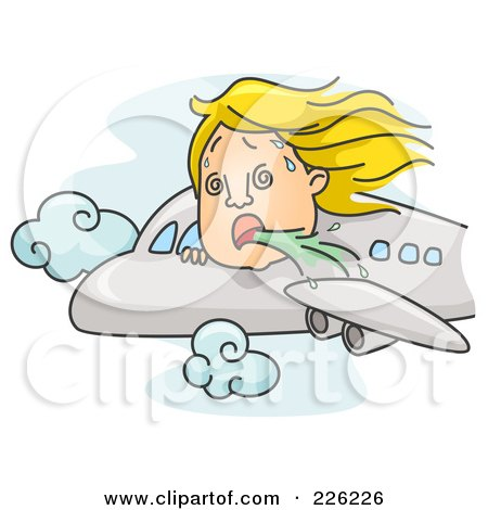Royalty-Free (RF) Clipart Illustration of a Woman Puking Out Of An Airplane Window by BNP Design Studio