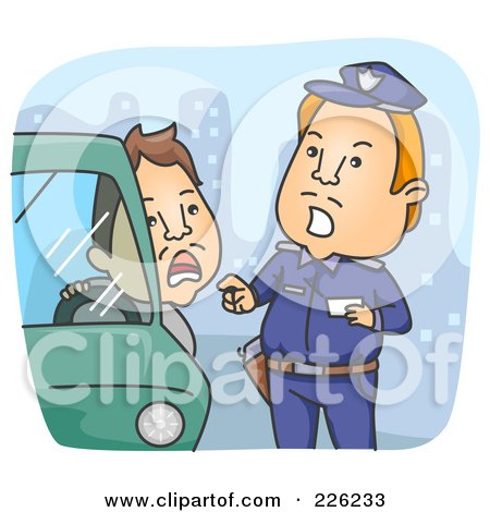 Royalty-Free (RF) Clipart Illustration of a Police Man Giving A Driver A Ticket by BNP Design Studio
