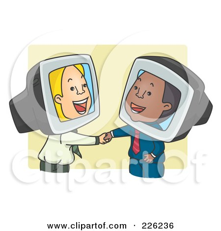 Royalty-Free (RF) Clipart Illustration of People Shaking Hands While Doing Online Business by BNP Design Studio
