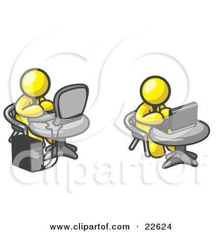 Clipart Illustration of Two Yellow Men, Employees, Working on Computers in an Office, One Using a Desktop, the Other Using a Laptop by Leo Blanchette