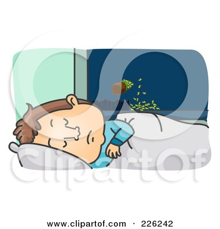 Royalty-Free (RF) Clipart Illustration of a Man Sleeping And Making Money by BNP Design Studio