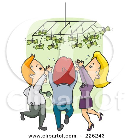 Royalty-Free (RF) Clipart Illustration of a Business People Reaching Up For Money by BNP Design Studio