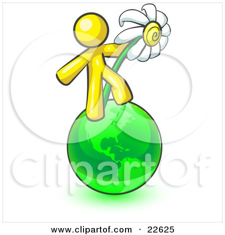 Clipart Illustration of a Yellow Man Standing On The Green Planet Earth And Holding A White Daisy, Symbolizing Organics And Going Green For A Healthy Environment by Leo Blanchette