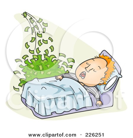 Royalty-Free (RF) Clipart Illustration of a Man Making Money While He Sleeps by BNP Design Studio