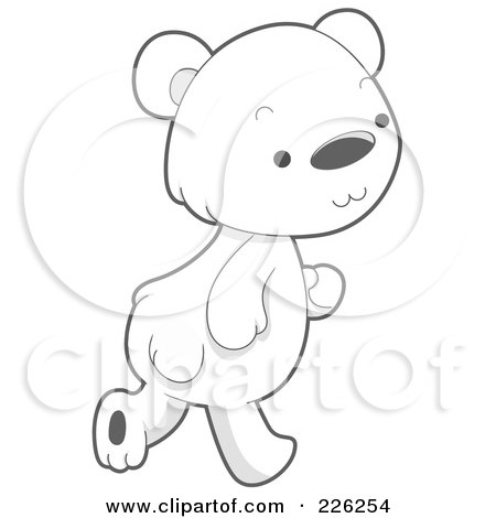 Royalty-Free (RF) Clipart Illustration of a Cute Baby Polar Bear Walking by BNP Design Studio