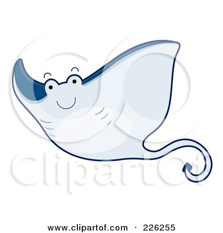 Royalty-Free (RF) Clipart Illustration of a Cute Blue Stingray by BNP Design Studio