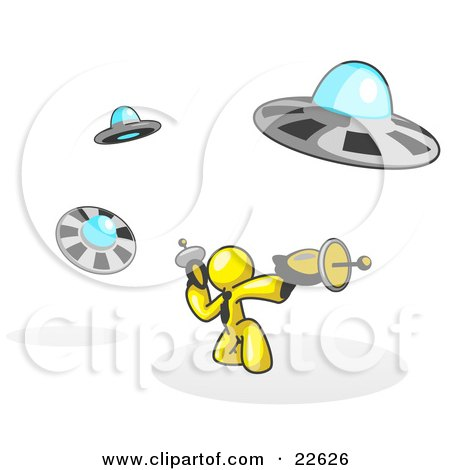 Clipart Illustration of a Yellow Man Fighting Off UFO's With Weapons by Leo Blanchette