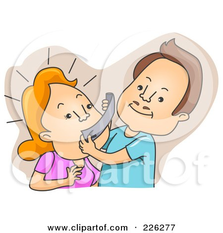 Royalty-Free (RF) Clipart Illustration of a Man Taping His Wife's Mouth by BNP Design Studio