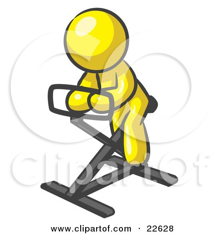 Clipart Illustration of a Yellow Man Exercising On A Stationary Bicycle by Leo Blanchette