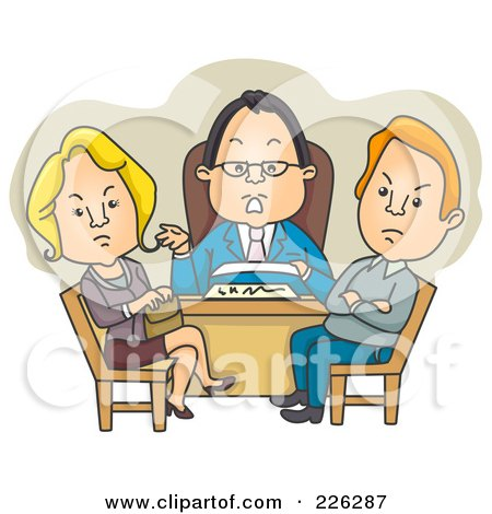 Royalty-Free (RF) Clipart Illustration of a Couple Getting A Divorce by BNP Design Studio