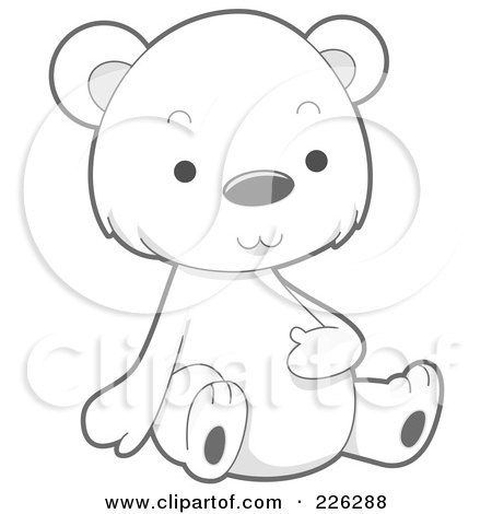 Royalty-Free (RF) Clipart Illustration of a Cute Baby Polar Bear Rubbing His Belly by BNP Design Studio