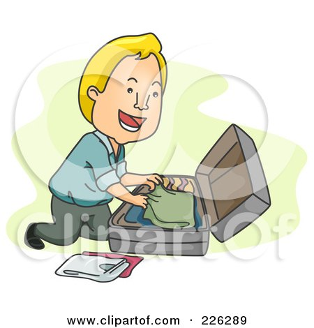Royalty-Free (RF) Clipart Illustration of a Man Packing His Clothes In A Suitcase by BNP Design Studio