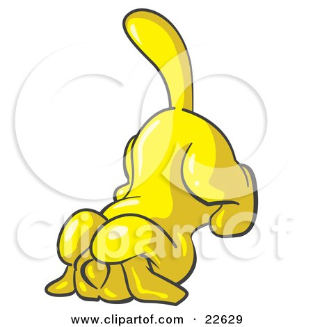 Clipart Illustration of a Scared Yellow Tick Hound Dog Covering His Head With His Front Paws  by Leo Blanchette