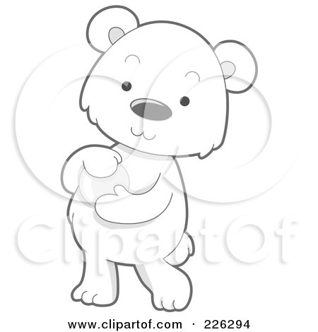 Royalty-Free (RF) Clipart Illustration of a Cute Baby Polar Bear Holding A Glass Ball by BNP Design Studio