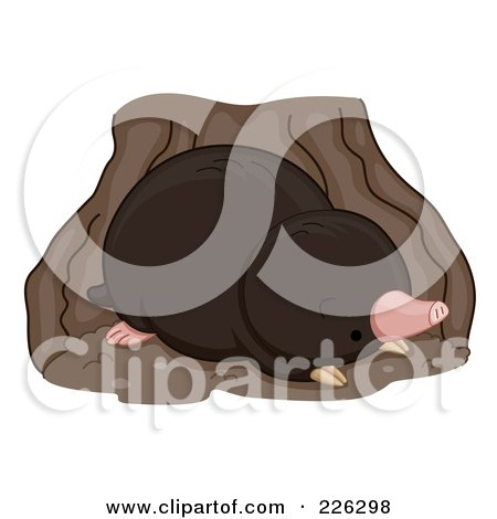 Royalty-Free (RF) Clipart Illustration of a Cute Mole In A Den by BNP Design Studio