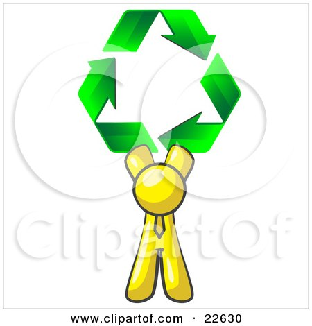 Clipart Illustration of a Yellow Man Holding Up Three Green Arrows Forming A Triangle And Moving In A Clockwise Motion, Symbolizing Renewable Energy And Recycling by Leo Blanchette