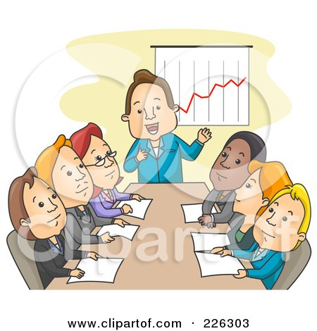 Royalty-Free (RF) Clipart Illustration of a Boss Discussing Profit In A Meeting by BNP Design Studio