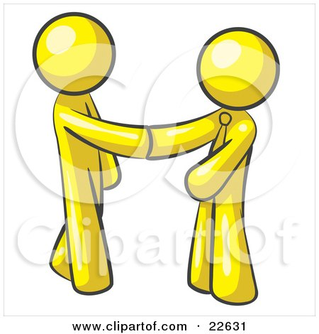 Clipart Illustration of a Yellow Man Wearing A Tie, Shaking Hands With Another Upon Agreement Of A Business Deal by Leo Blanchette