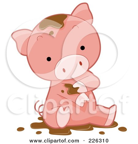 Royalty-Free (RF) Clipart Illustration of a Cute Pig Bathing In Mud by BNP Design Studio
