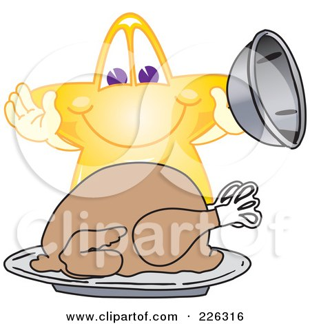 Royalty-Free (RF) Clipart Illustration of a Star School Mascot Serving A Thanksgiving Turkey by Toons4Biz