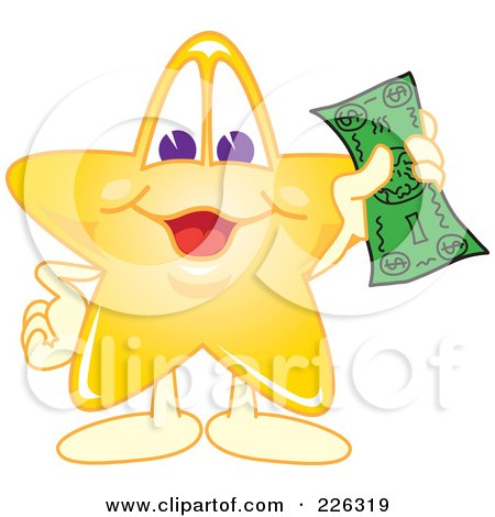 Royalty-Free (RF) Clipart Illustration of a Star School Mascot Holding Cash by Toons4Biz