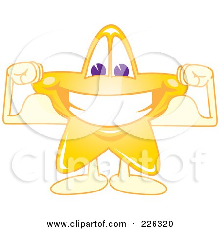 Royalty-Free (RF) Clipart Illustration of a Star School Mascot Grinning And Flexing by Toons4Biz