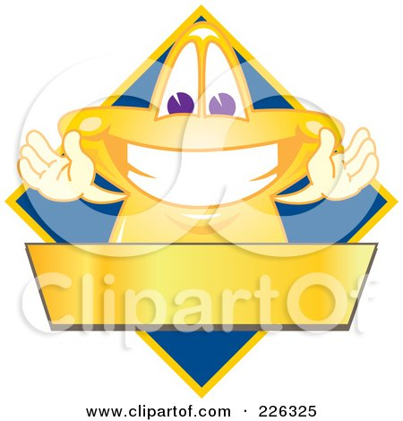 Royalty-Free (RF) Clipart Illustration of a Star School Mascot Logo Over A Blue Diamond And Blank Gold Banner by Toons4Biz