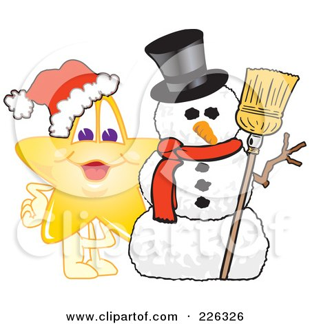 Royalty-Free (RF) Clipart Illustration of a Star School Mascot With A Snowman by Toons4Biz