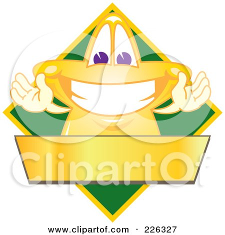 Royalty-Free (RF) Clipart Illustration of a Star School Mascot Logo Over A Green Diamond And Blank Gold Banner by Toons4Biz