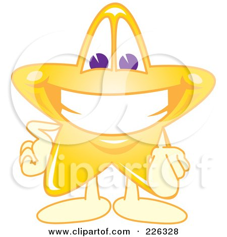 Royalty-Free (RF) Clipart Illustration of a Star School Mascot Pointing Outwards by Toons4Biz