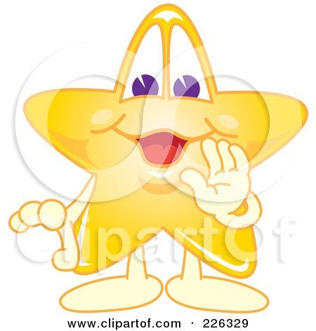 Royalty-Free (RF) Clipart Illustration of a Star School Mascot Whispering by Toons4Biz