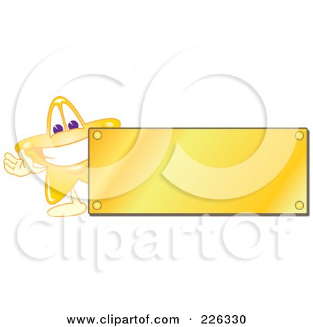 Royalty-Free (RF) Clipart Illustration of a Star School Mascot Logo Over With A Blank Gold Plaque by Toons4Biz