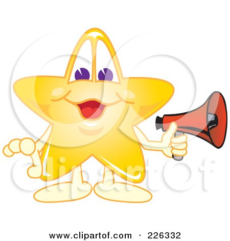 Royalty-Free (RF) Clipart Illustration of a Star School Mascot Holding A Megaphone by Toons4Biz