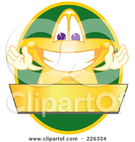 Royalty-Free (RF) Clipart Illustration of a Star School Mascot Logo Over A Green Oval And Blank Gold Banner by Toons4Biz